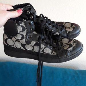 Coach High Top Sneakers, Black/Gray